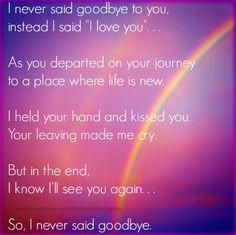 "I never said good-bye, I said ""I love you.""  <3"