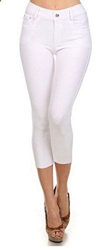 Women's Basic Solid Color Cotton Blend Capri Jeggings White, LXL  Go to the website to read more description.