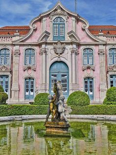 Fountain and Façade Queluz National Palace in Portugal.