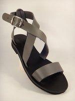 Leather Sandal X Strap Grey