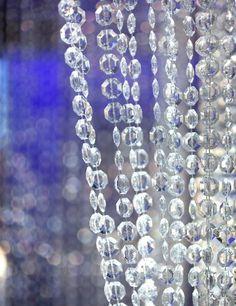 ShopWildThings Beaded Curtain Diamonds Light Gold Metallic over Acrylic