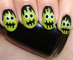 Flash Frankenstein's Monster Nails Tutorial & Swatches