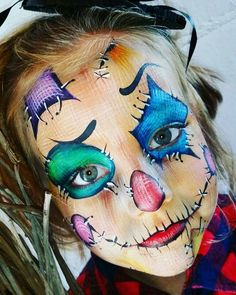 Halloween Costumes Scarecrow, Scarecrow Face, Halloween Make Up, Halloween Face Makeup, Scarecrow Makeup, Face Painting Images, Face Painting Designs, Body Painting, Kids Makeup