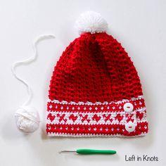 Fair Isle Banded Slouchy Hat   AllFreeCrochet.com