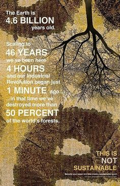 The Earth is 4.6 billion years old. Scaling to 46 YEARS, we've been here 4 hours and our Industrial Revolution began just 1 minute ago. In that time we've destroyed more than 50% of the world's forests. This is NOT sustainable.