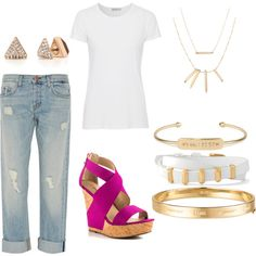 White tshirt and boyfriend jeans by stellastylistelizabeth on Polyvore featuring AG Adriano Goldschmied, J Brand, JustFabulous and Stella & Dot