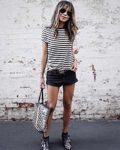 Black and white striped tshirt | edgy summer street style