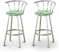 """2 Jalapeno Vinyl Specialty / Custom Chrome Barstools with Backrest Set by The Furniture Cove. $154.88. Chrome Finish. Swivel Seat. 24"""" Tall to Seat. Jalapeno Vinyl Fabric Print Seat. Back Rest and Foot Rest. These are new, 24"""" chrome bar stools with footrests and swivel seats with a backrest! These Feature Jalapeno Vinyl fabric seats that are cool and unique. The pads are 14"""" across and the seat is 24"""" tall. The entire height is 34"""". The sides of the seat have nice me..."""