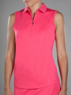 Check out what #lorisgolfshoppe has for your days on and off the golf course! JoFit Ladies & Plus Size Jacquard Sleeveless Golf Polo Shirts - Cabernet (Sherbet)