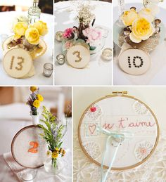 Embroidery hoops table numbers