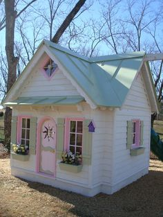 Accessories For a Wooden Playhouse cool playhouse accessories for kids outside playhouse Kids Outside Playhouse, Girls Playhouse, Backyard Playhouse, Build A Playhouse, Wooden Playhouse, Painted Playhouse, Playhouse Ideas, Childrens Playhouse, Backyard House