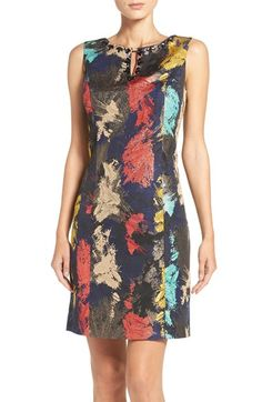 Free shipping and returns on Ellen Tracy Embellished Metallic Jacquard Sheath Dress at Nordstrom.com. A creative jacquard-woven pattern lights up a princess-seamed sheath with color and metallic accents, while glossy leaf-shaped jewels frame the face.
