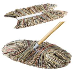 """Colorful genuine wool dust mop with 48"""" handle. Draws dust like a magnet and releases it with a shake. Swivel connector makes easy cleaning of floors; and under furniture easy to access. Recycled poplar handle. Comes complete with a replacement head. Made by a fourth-generation family business in Vermont."""