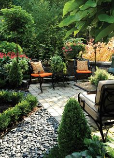 Surrounded with lush green plants helps to create private patio.