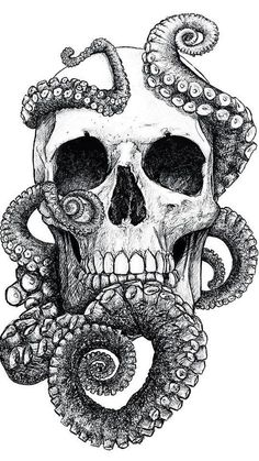 Skulls: #Skull with octopus tentacles.                                                                                                                                                     More