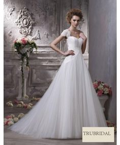 A Line Square Strap Pleated Organza Drop Waist Court Train Wedding Dresses