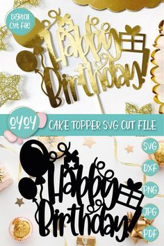 1st Birthday Cake Topper, Happy Birthday Cakes, Happy Birthday Printable, Cricut Cake, My Daughter Birthday, Halloween Birthday, Birthday Balloons, Birthday Decorations, First Birthdays