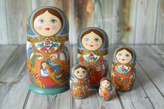 Nesting Doll Handpainted Matryoshka babushka doll by nordfolk