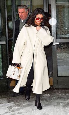 Selena Gomez proves how a stark, all-white ensemble is undeniably chic in winter.