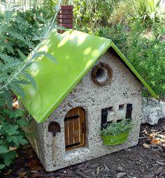 Wexford Cottage - Stone Garden Art - Stone Cottage from the little white barn… Fairy Garden Houses, Gnome Garden, Garden Art, Fairy Gardens, Garden Railroad, Cement Art, Papercrete, Garden Terrarium, Ceramic Houses