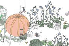 Garbo & Friends är ett svenskt varumärke som producerar bäddprodukter med vackert illustrerade mönster skapade med mycket fantasi i milda fina pastelltoner. Flera mönster har naturen som inspiration. Denna detaljbild kommer från deras spjälskydd Garden.