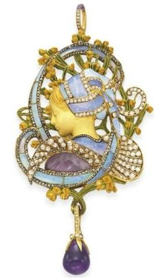 "Henri Vever ""La Bretonne"" ca. 1900 via Christie's by shawn, art nouveau brooch, pin, jewelry,"