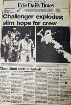 The Erie Daily Times covers the tragic Challenger explosion, dated January 28, 1986.