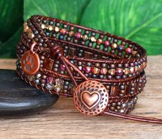 Metallic Raspberry Mauve Tila and Crystal Beaded Leather Triple Wrap Artisan Bracelet