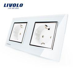 Livolo Estándar de LA UE Toma de Corriente de Pared Panel de Cristal Cristal blanco, fabricante de 16A Enchufe De Pared, VL-C7C2EU-11