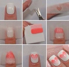 Here's a brilliant modification of the ombre-sponge technique.   26 Ridiculously Sweet Valentine's Day Nail Art Designs