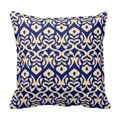 Intricate Yellow Heart Pattern Against Blue Pillow