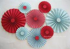 8 Red and Aqua Rosettes, Paper Fans, Pinwheel Backdrop Decor, Paper Rosettes, Candy Buffet Decorations, Choose your colors