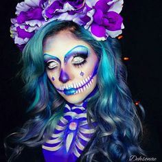 Sugar Skull Face Art Hair color by Face Art and model Amazing Halloween Makeup, Halloween Looks, Halloween Face Makeup, Happy Halloween, Amazing Makeup, Halloween Season, Halloween 2017, Halloween Horror, Halloween Ideas