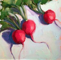 "Daily Paintworks - ""Radish Trio"" - Original Fine Art for Sale - © Mary Michaela Murray"