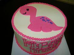 Pink dinosaur birthday cake. Cute!