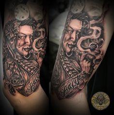 smoke chica tat by on DeviantArt Chest Tattoo, Back Tattoo, Spy Weapons, Smoke Tattoo, Possible Combinations, Original Tattoos, Funny Tattoos, Women Legs, Girls Show