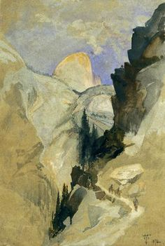 """""""Back of South Dome from the Trail near Vernal Falls,"""" Thomas Moran, 1872, watercolor, 13.5 x 9"""", Oakland Museum of California."""