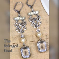 Vintage Assemblage Rhinestone, Pearl, Chain Earrings By The Salvaged Bead