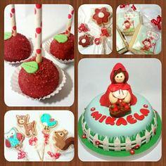 Combo Caperucita • Cake con Modelado - Galletas - Cakepops