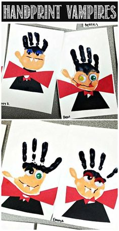 Make these handprint vampires you just need to prepare some googly eyes, red and black papers. Of course the most important thing is from your toddler's little handprints. #halloweencraftforkids