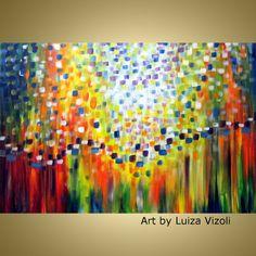 Original Oil Painting SERENADE of LIGHT Modern Wall by LUIZAVIZOLI, $275.00