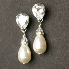 Pearl & Rhinestone Bridal Earrings, STERLING SILVER Earrings, Cubic Zirconia Earrings, Ivory White Pearl Earrings, Large version, CLASSIC. $48.00, via Etsy.