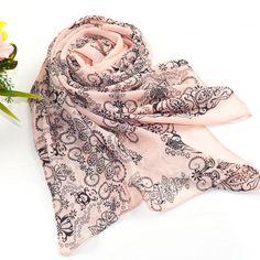 Fashion Floral Pink Summer Style Long Chiffon Ladies Scarf Spring Winter Women Printed Scarves Desigual Shawls Bufanda Cachecol scarf