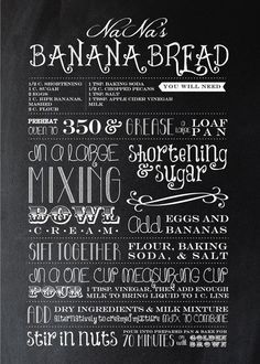 hipster typography for recipes - Google Search
