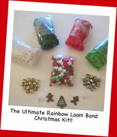 Rainbow Loom Refill Rubber Bands CHRISTMAS KIT Charms Bells Beads Red Green 2400