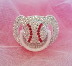 Baby Bling Baseball Pacifier with Swarovski Crystal on Etsy, $40.00