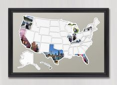 ❄❄❄ Holiday Update ❄❄❄ All orders received by December 15th are guaranteed to arrive before Christmas.   Add your own photos to each of the 50 US states to capture a lifetime of memories and create a one-of-a-kind map showing where youve been or where youre going.  This USA photo map is great for anyone with the goal of visiting all 50 states. If youre looking for an added challenge find something to do in each state such as: Visit the highest point, run a marathon, drink a beer brewed in…