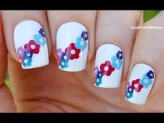 DOTTING TOOL NAIL ART #2 - Colorful Flower Nails With White Base