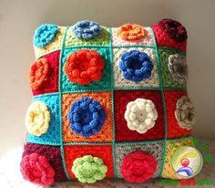 Envío gratis de la abuela de ganchillo cuadrados amortiguador de la cubierta 3 flor d funda de cojín