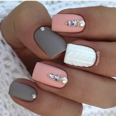 Accurate nails Festive nails Grey and pink nails Ideas of gentle nails Manicure 2018 Matte nails Nails trends 2018 Nails with rhinestones The post Accurate nails Festive nails Grey and pink nails Ideas of gentle nails Manic appeared first on Nageldesign. Square Acrylic Nails, Square Nails, Best Nail Art Designs, Gel Nail Designs, Nails Design, Nagellack Trends, Rhinestone Nails, Diamante Nails, Nagel Gel